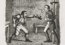 An illustration in which Orlick threatens Pip with a candlestick.