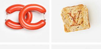 picture of food arranged to look like the chanel, louis vuitton, fendi and gucci logos