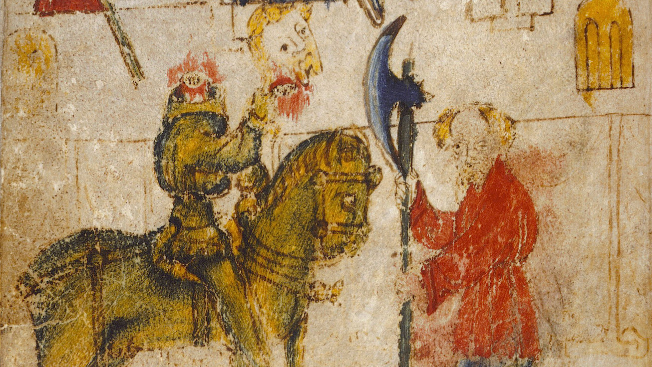 Original manuscript, showing a man in a red coat holding a bardiche, and a headless man on a horse.