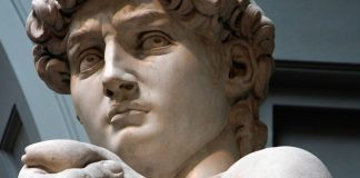 The image shows a statue, the David, framed in a close up. His hands and face are visible and his eyes are staring directly to the camera