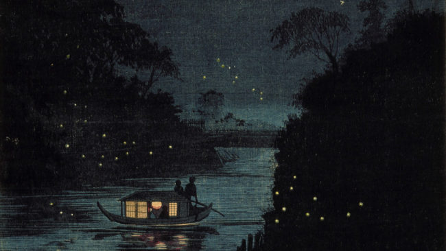 A boat sits on a river at night and fireflies are dotted around the place.