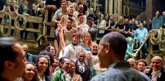 Obama greets the cast of Hamilton