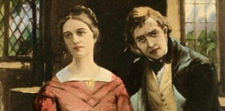 a painting of Dorothea and Will from Middlemarch, the woman wearing a pink dress, both sitting down.