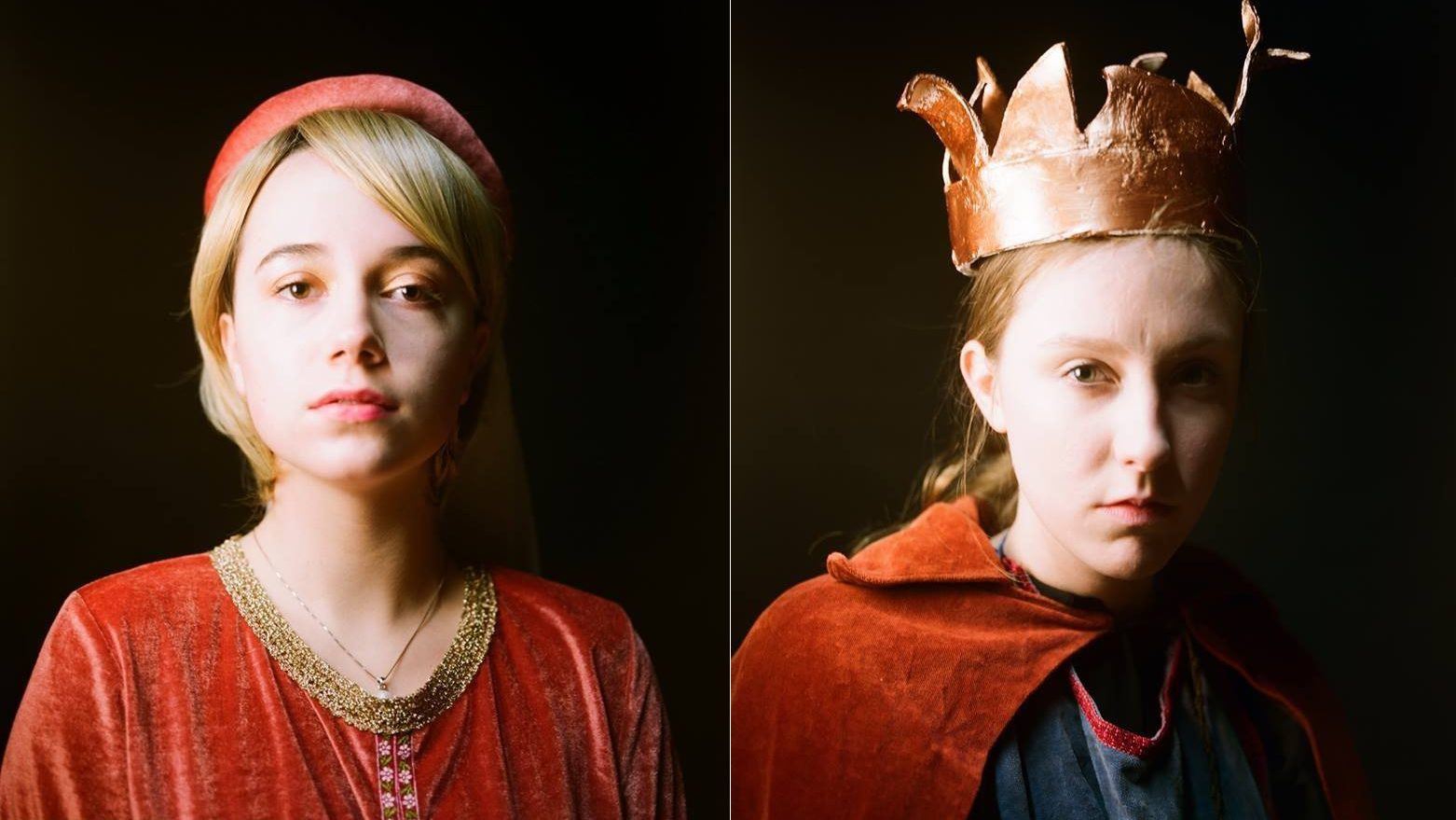 Photo portraits of 'Matilda' and 'Henry IV' looking out to the camera. Henry IV wears a crumpled crown.