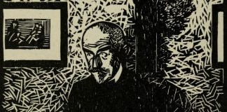 An illustrated portrait of Huysmans sat in a room.