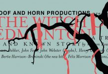 The words 'Hoof and Horn Productions, The Witch of Edmonton' are superimposed on a green background, as well as the names of the writers/directors of the play. A black silhouette of a tree intertwines with the words