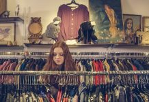 woman in vintage clothes shop