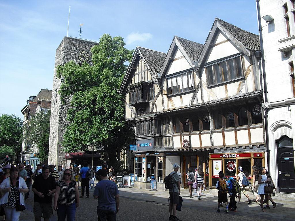 Busy day in Cornmarket Street Oxford.