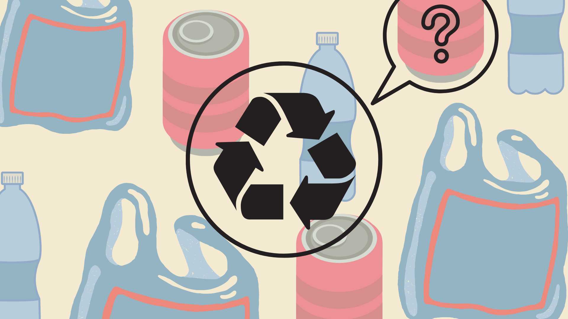 Pastel coloured graphic. Background of plastic bags and drinks cans foregrounded by recycling symbol.