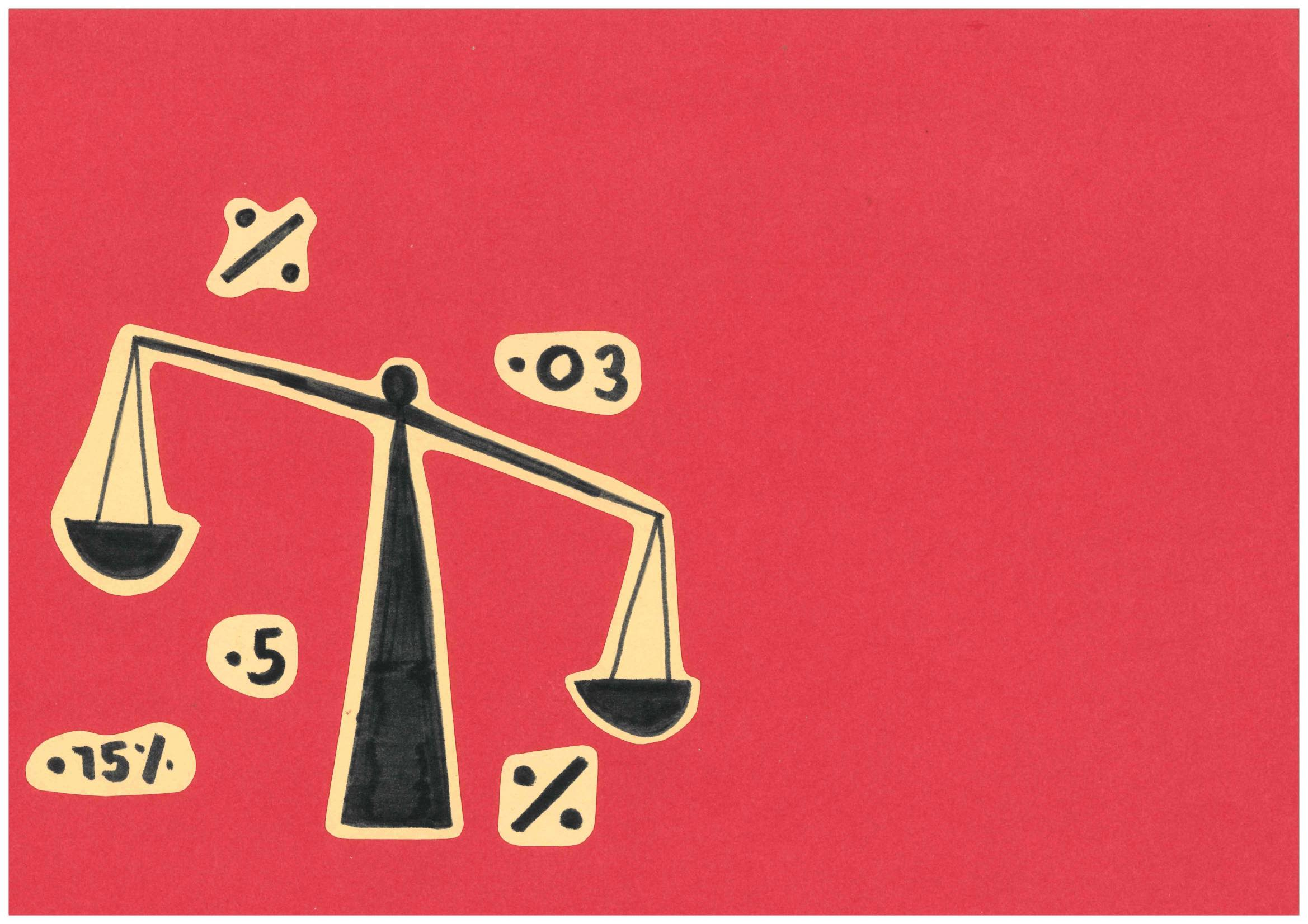 An illustration of a weighing scale is surrounded by statistics, against a red background.