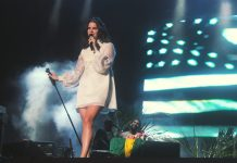 Lana Del Rey singing at a concert with the USA flag behind her.