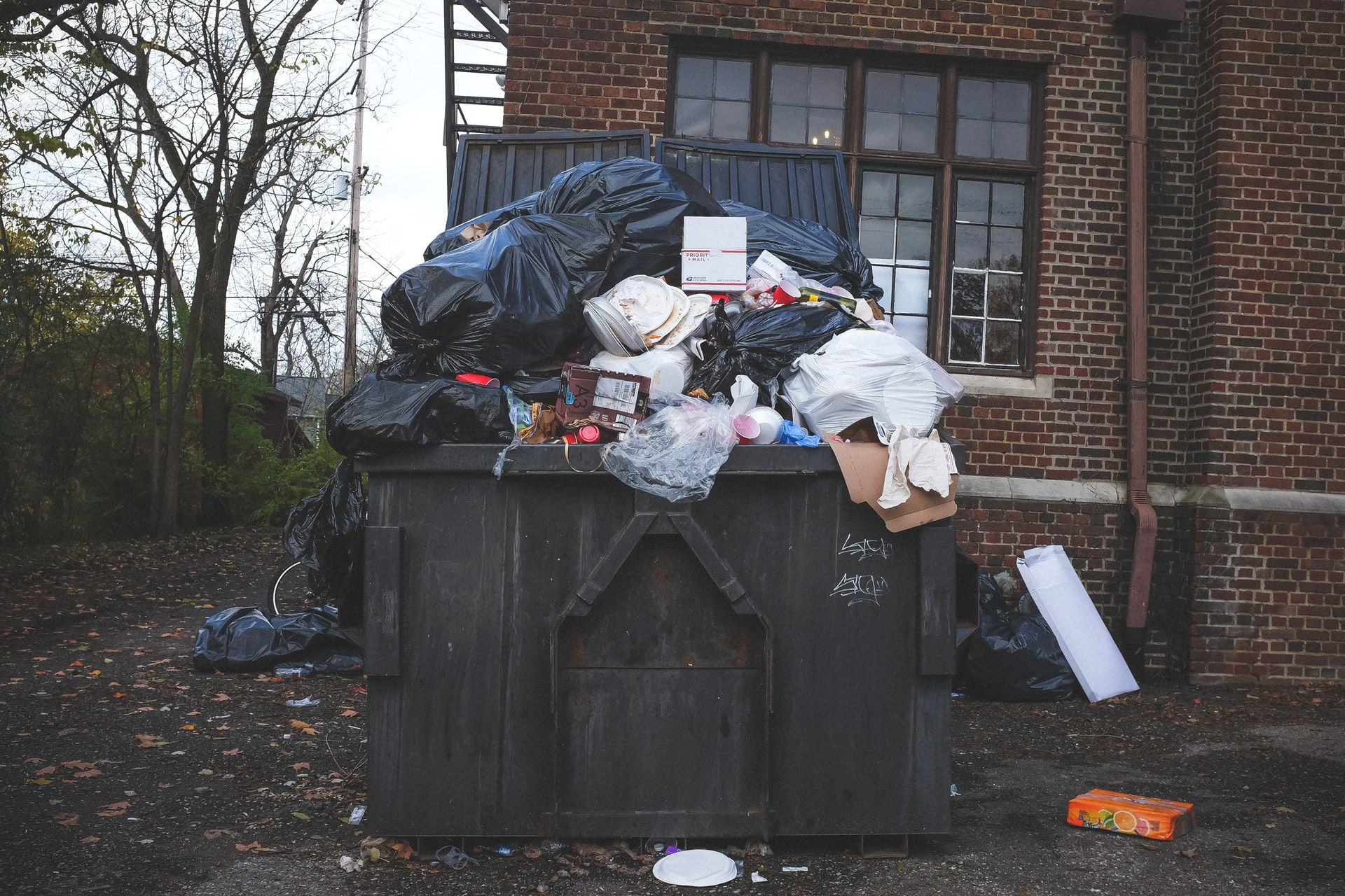 A large black bin overflowing with rubbish, including bin bags, pizza cartons and single-use cups and plates. The bin is in front of a brick house.