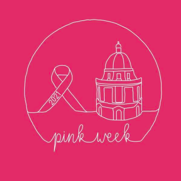 A breast cancer awareness ribbon and the Rad Cam are drawn in white with 'pink week' underneath on a hot pink background.
