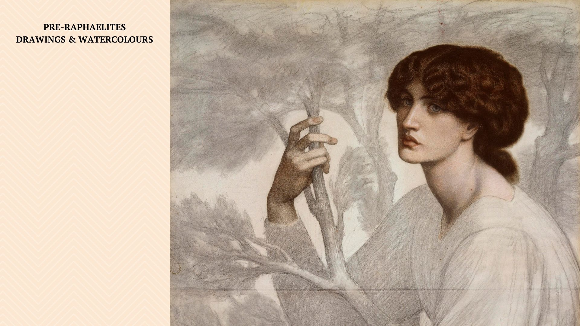 A chalk drawing of a women in a white dress holding a branch. A caption on the left states: PRE-RAPHAELITES DRAWINGS & WATERCOLOURS