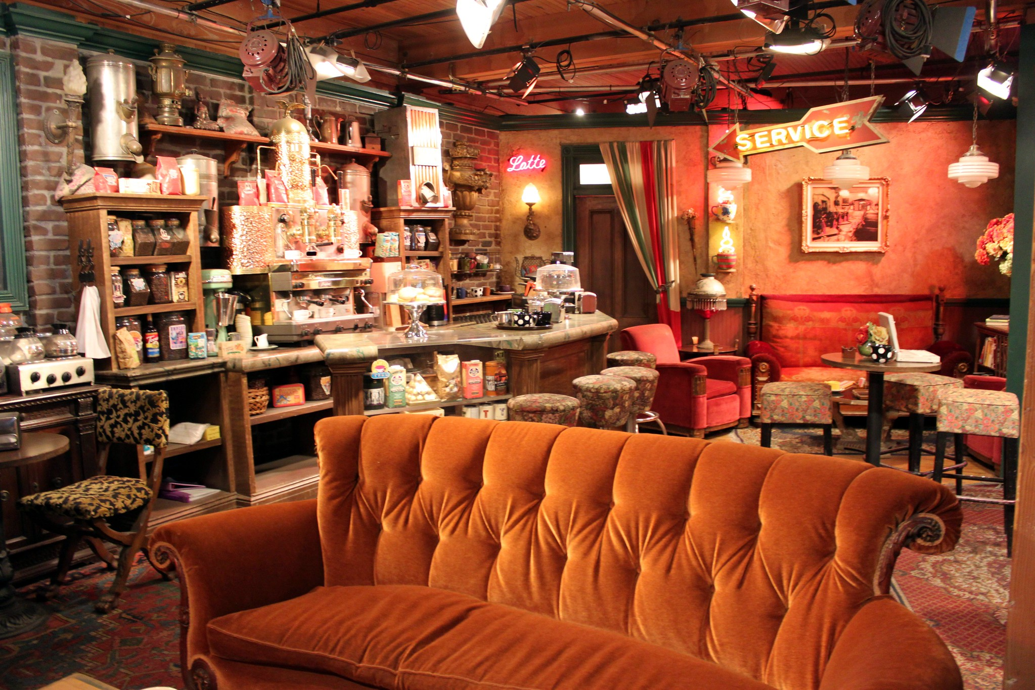 A photo of the famous sofa inside Central Perk coffee shop from the 'Friends' sitcom