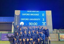 Women's football Blues celebrate beating Brookes.