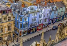 Colourful buildings on the high street
