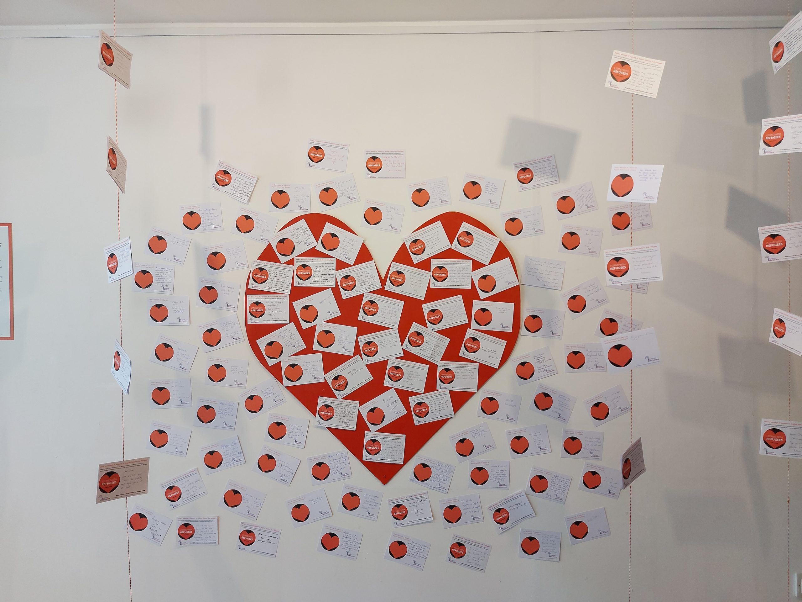 Postcards arranged in a heart
